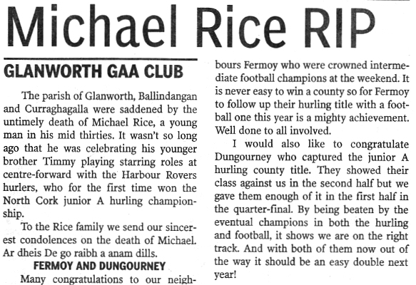 Glanworth Gaa Media Coverage